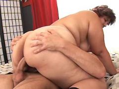 Horny fatty fucked by man in bed
